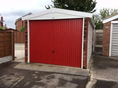 Standard Apex garage supplied with coloured door